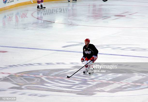 Mike Green of the Washington Capitals skates during the 2011 NHL Winter Classic Practice on December 31 2010 at Heinz Field in Pittsburgh Pennsylvania