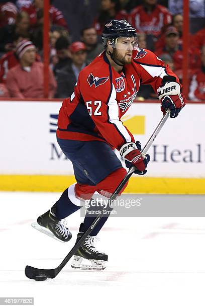 Mike Green of the Washington Capitals skates up ice against the Edmonton Oilers at Verizon Center on January 20 2015 in Washington DC The Edmonton...