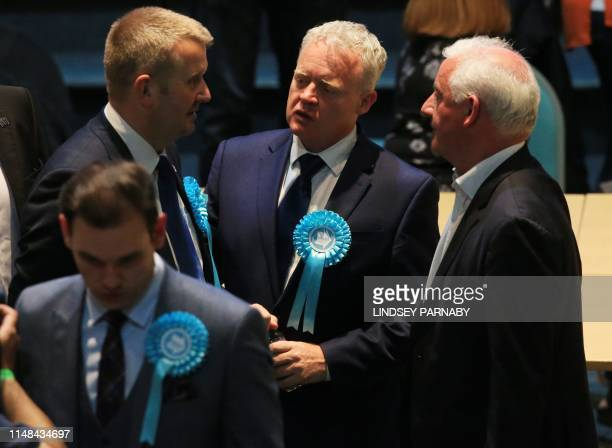Mike Greene of the Brexit Party confers with party members at the Kingsgate Conference Centre in Peterborough England on June 6 2019 A local...