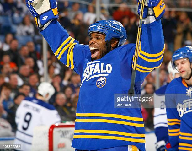 Mike Grier of the Buffalo Sabres celebrates Paul Gaustad's second period goal against the Toronto Maple Leafs at HSBC Arena on February 5, 2011 in...
