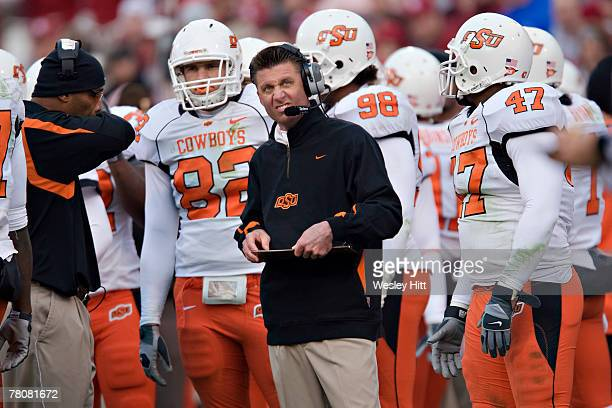 Mike Gundy of the Oklahoma State Cowboys on the sidelines during their game against the Oklahoma State Cowboys at Gaylord Family-Oklahoma Memorial...