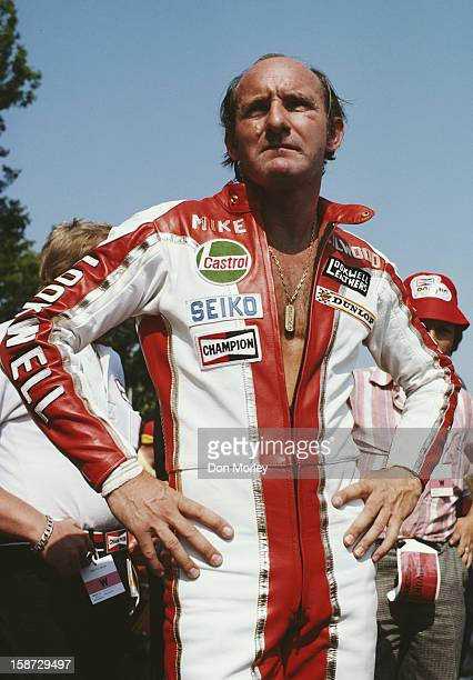 Mike Hailwood of Great Britain before the start of the Formula One International Isle of Man TT Race on 7th June 1978 on the Isle of Man, United...