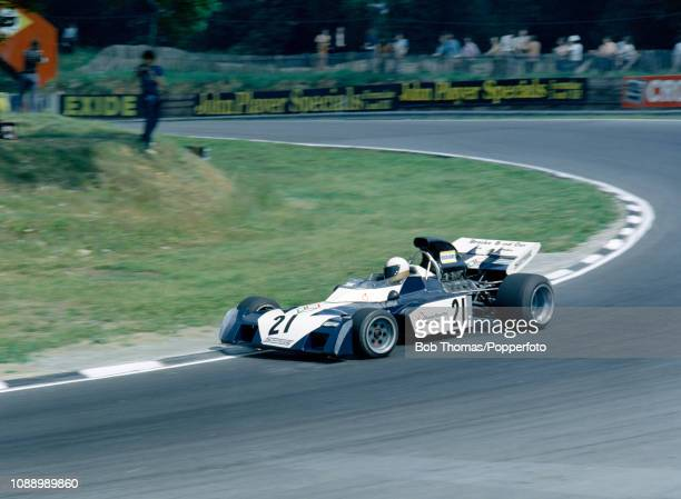 Mike Hailwood of Great Britain driving the Surtees TS9B during the British Grand Prix at the Brands Hatch circuit in Fawkham, England on July 15,...