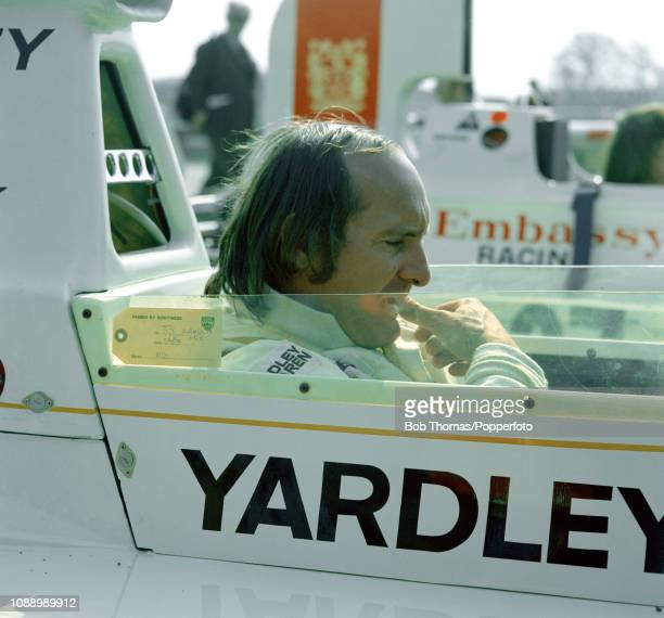 Mike Hailwood of Great Britain in the McLaren M23 during the British Grand Prix at the Brands Hatch circuit in Fawkham, England on July 20, 1974.