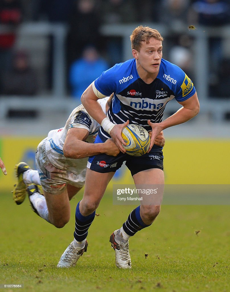 Mike Hale of Sale Sharks is tackled by Phil Dollman of Exeter Chiefs during the Aviva Premiership match between Sale Sharks and Exeter Chiefs at the A J Bell Stadium on February 13, 2016 in Salford, England