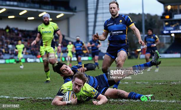 Mike Haley of Sale Sharks scores his second try during the Aviva Premiership match between Worcester Warriors and Sale Sharks at Sixways Stadium on...