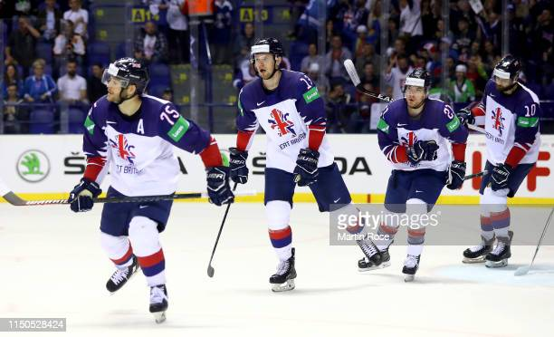 Mike Hammond of Great Britain reacts after he scores the 2nd goal for his team during the 2019 IIHF Ice Hockey World Championship Slovakia group A...