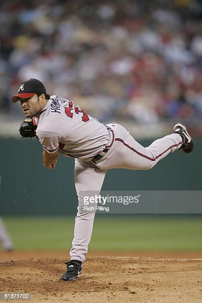 Mike Hampton of the Atlanta Braves pitches during the game against the Philadelphia Phillies at Citizens Bank Park on August 31 2004 in Philadelphia...