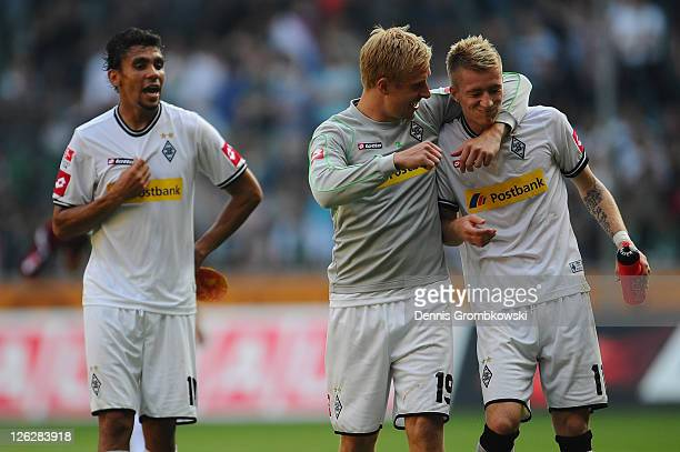 Mike Hanke of Moenchengladbach celebrates with team mate Marco Reus after the Bundesliga match between Borussia Moenchengladbach and 1 FC Nuernberg...