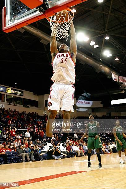 Mike Harris of the Rio Grande Valley Vipers slam dunks during the DLeague game against the Reno Bighorns on February 6 2010 at the State Farm Arena...