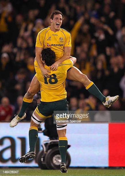 Mike Harris of the Wallabies celebrates kicking the winning penalty kick during the International Test Match between the Australian Wallabies and...