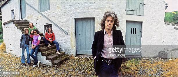 Mike Harrison with his band Junkyard Angel photographed near Carlisle on 26th June 1971 LR Kevin Iverson Peter Batey Frank Kenyon Ian Herbert and...