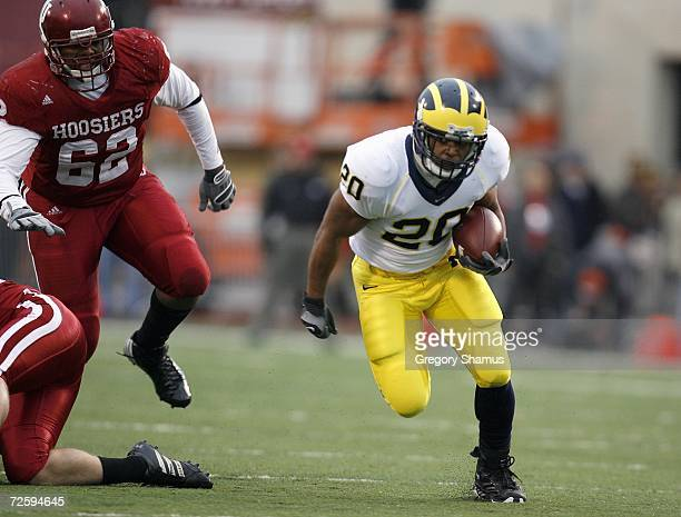 Mike Hart of the Michigan Wolverines carries the ball during the game against the Indiana Hoosiers on November 11 2006 at Memorial Stadium in...