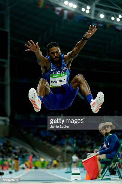 Mike Hartfield of the United States competes in the Men's Long Jump Qualifying Round on Day 7 of the Rio 2016 Olympic Games at the Olympic Stadium on...