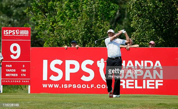 Mike Harwood of Australia in action during the second round of the Handa Senior Masters presented by the Stapleford Forum played at Stapleford Park...