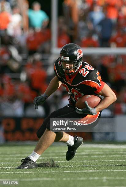 Mike Hass of the Oregon State Beavers carries the ball during the game against the Portland State Vikings on September 3 2005 at Reser Stadium in...