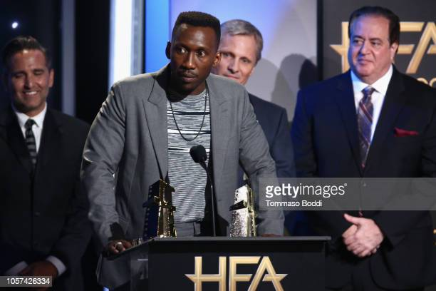 Mike Hatton Mahershala Ali Viggo Mortensen and Nick Vallelonga accept the Hollywood Ensemble Award for Green Book onstage during the 22nd Annual...