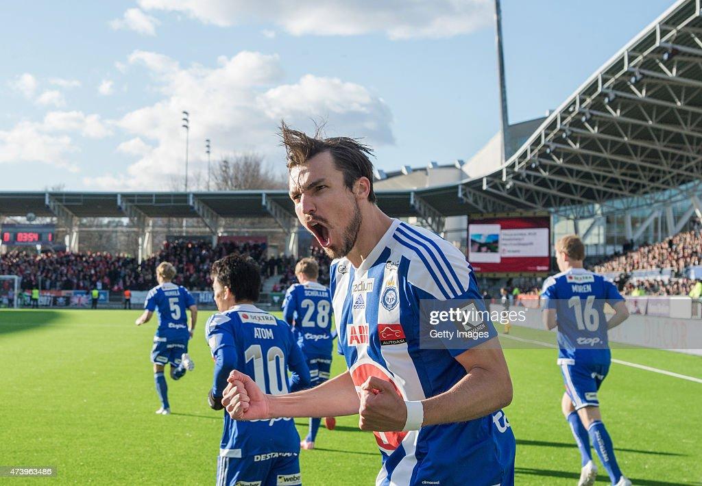 Mike Havenaar of HJK Helsinki celebrates scoring his team's first goal during the Finnish First Division match between HJK Helsinki and HIFK Helsinki at Sonera Stadium on April 23, 2015 in Helsinki, Finland.