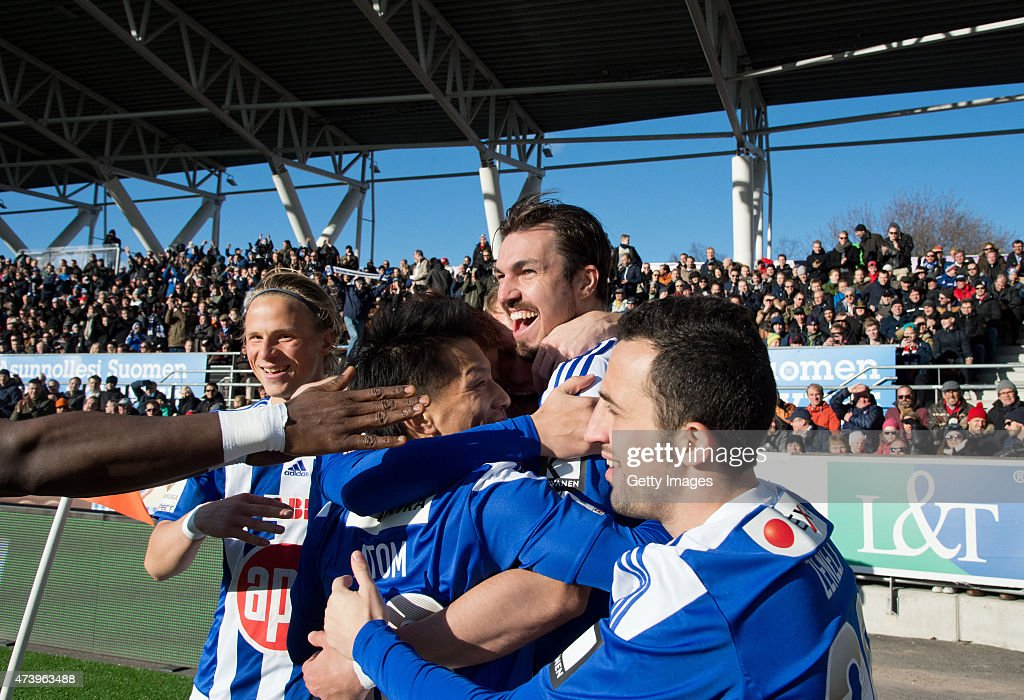 Mike Havenaar of HJK Helsinki celebartes scoring his team's first goal with his team mates during the Finnish First Division match between HJK Helsinki and HIFK Helsinki at Sonera Stadium on April 23, 2015 in Helsinki, Finland.