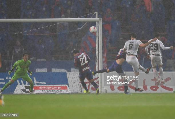 Mike Havenaar of Vissel Kobe heads the ball to score his side's first goal during the JLeague J1 match between Ventforet Kofu and Vissel Kobe at...