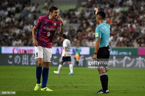 Mike Havenaar of Vissel Kobe protests to referee Akihiko Ikeuchi after an yellow card during the JLeague match between Vissel Kobe and Yokohama...