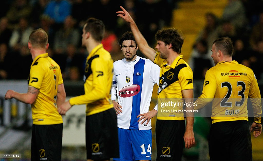 Mike Havenaar #14 of Vitesse waits for the corner during the Eredivisie match between NAC Breda and Vitesse at the Rat Verlegh Stadion on March 8, 2014 in Breda, Netherlands.