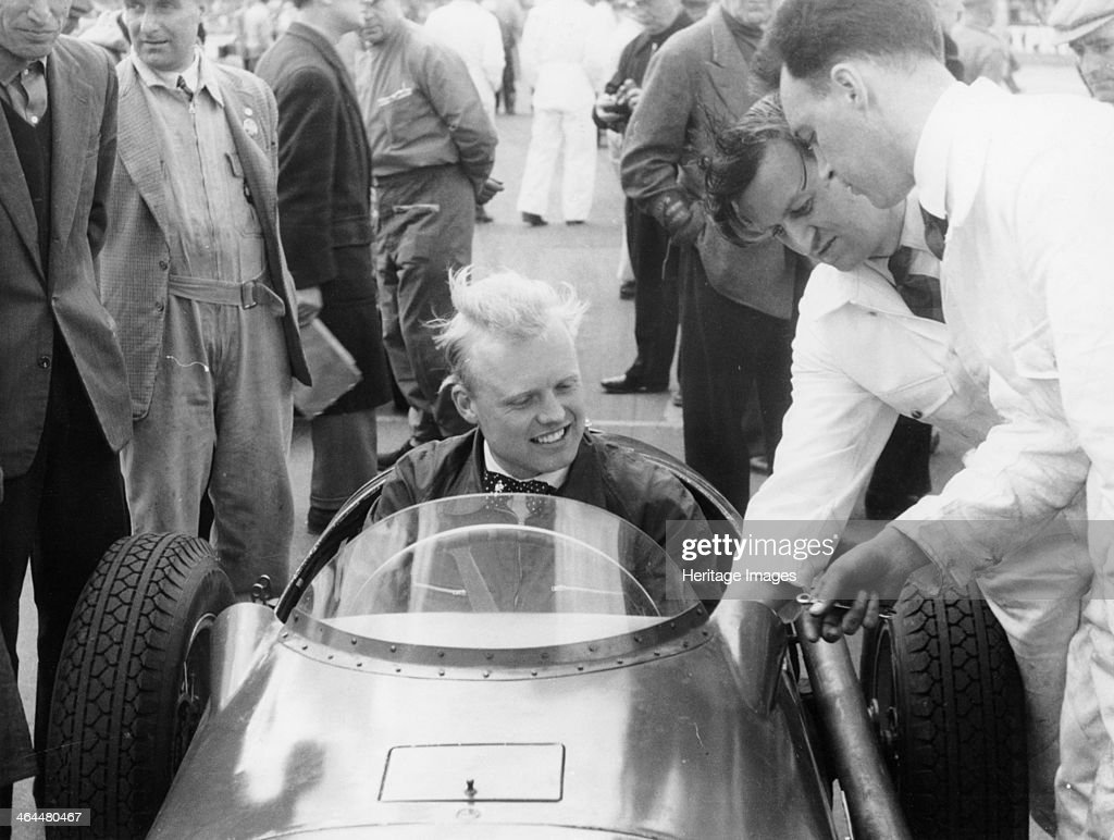 Mike Hawthorn during the International Trophy at Silverstone ...