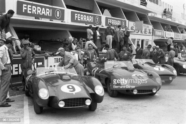 Mike Hawthorn Peter Collins Louise Collins Luigi Musso Ferrari 250 Testa Rossa Ferrari 335S 24 Hours of Le Mans Le Mans 23 June 1957 The 1957 Ferrari...