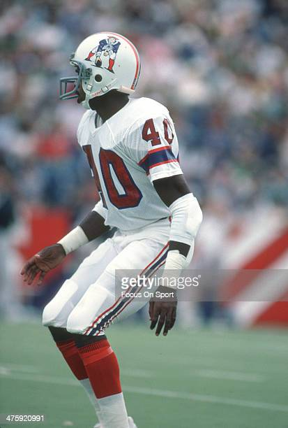 Mike Haynes of the New England Patriots in action against the Oakland Raiders during an NFL football game circa 1981 at Foxboro Stadium in Foxborough...