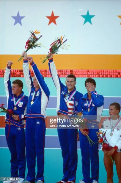 Mike Heath David Larson Jeff Float Bruce Hayes Men's swimming 4 × 200 metre freestyle relay medal ceremony McDonald's Olympic Swim Stadium at the...