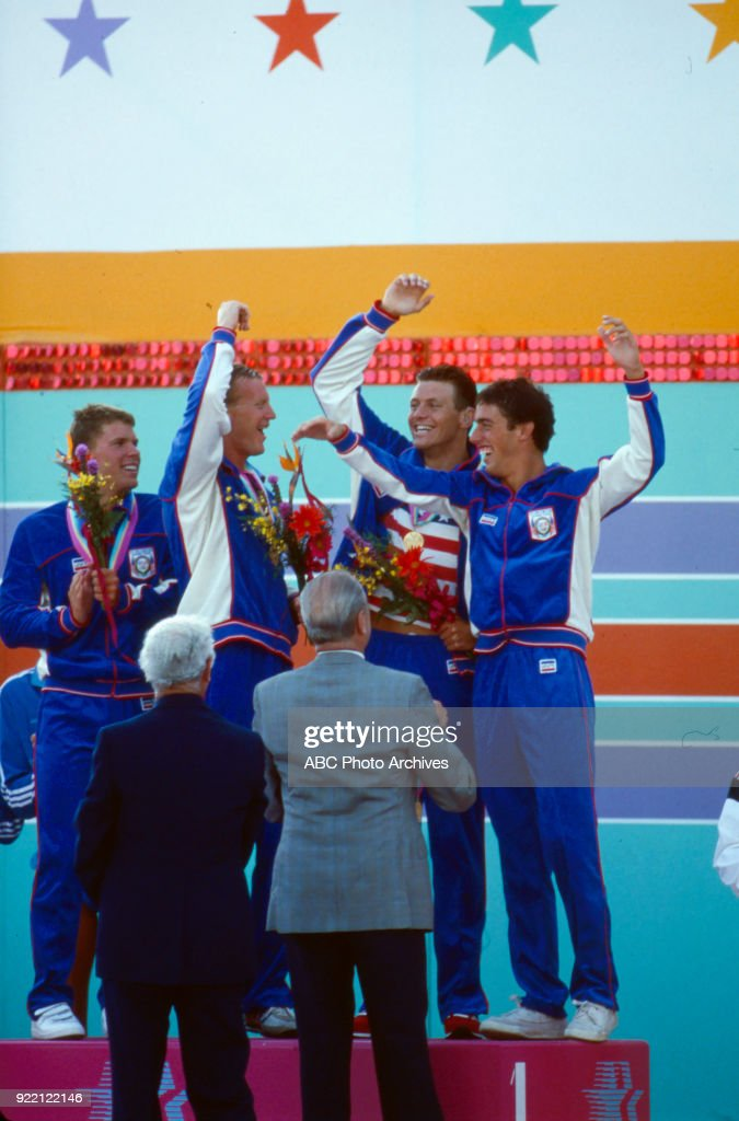 Men's Swimming 4 × 200 Metre Freestyle Relay Medal Ceremony At The 1984 Summer Olympics : News Photo