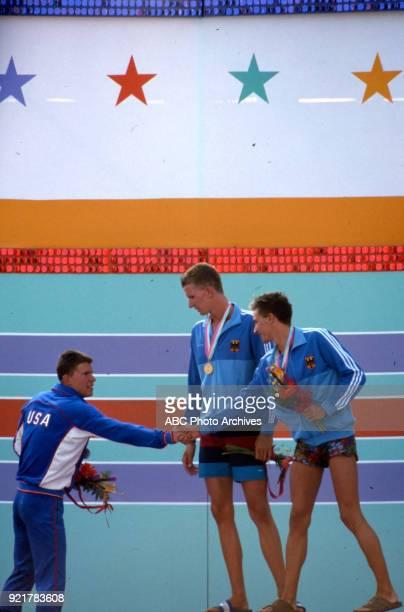 Mike Heath Michael Gross Thomas Fahrner Men's swimming 200 metre freestyle medal ceremony McDonald's Olympic Swim Stadium at the 1984 Summer Olympics...