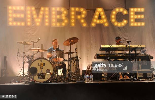 Mike Heaton and Mickey Dale of Embrace perform on stage at the O2 Shepherd's Bush Empire on April 6 2018 in London England