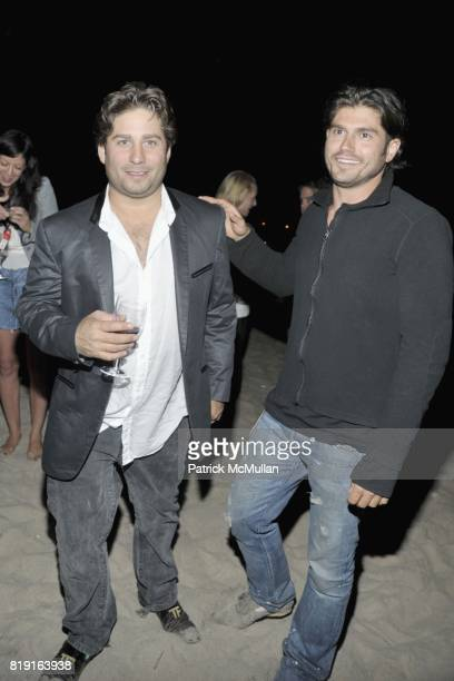 Mike Heller and Andrew Levitas attend THE CINEMA SOCIETY DIOR BEAUTY host the after party for 'GREASE SingALong' at Katie Lee's Beach House on July 2...