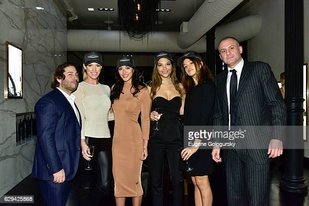 Mike Heller, Jet Smarter X Models and Ronn Torossian attend the JetSmarter x Material Good VIP Event Hosted By Talent Resources at Material Good on...