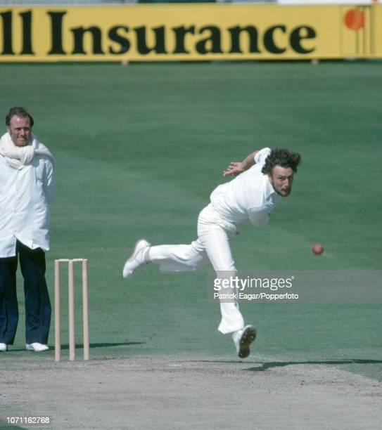 Mike Hendrick bowling for England during the 3rd Test match between England and India at Headingley Leeds 21st August 1979 The umpire is Barrie Meyer...