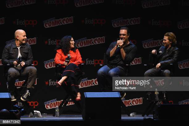 Mike Henry Alex Borstein Patrick Warburton and Alex Borstein attend The Family Guy panel during 2017 New York Comic Con on October 6 2017 in New York...