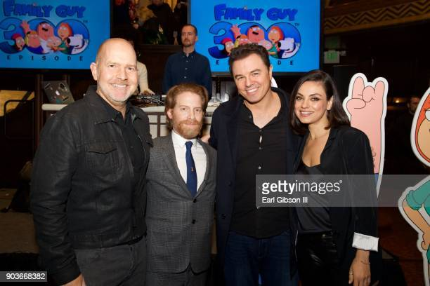 Mike Henry Seth Green Seth MacFarlane and Mila Kunis pose for a photo at Fox Celebrates 300th Episode of 'Family Guy' at Cicada on January 10 2018 in...