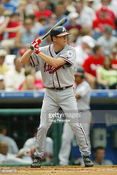 Mike Hessman#15 of the Atlanta Braves stands at bat during the game against the Philadelphia Phillies at the Citizens Bank Park on May 30 2004 in...