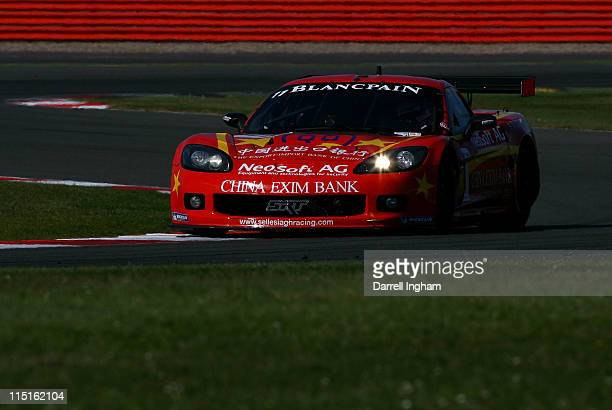 Mike Hezemans drives the Exim Bank Team china Chevrolet Corvette Z06 during practice for the FIA GT1 World Championship race at the Silverstone...