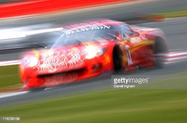 Mike Hezemans of the Netherlands drives the Exim Bank Team china Chevrolet Corvette Z06 during the FIA GT1 World Championship race at the Silverstone...