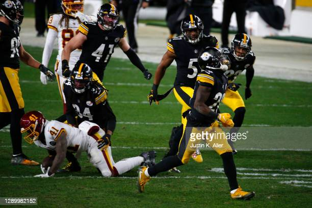 Mike Hilton of the Pittsburgh Steelers and his team celebrate a fourth down stop during the second quarter of their game against the Washington...