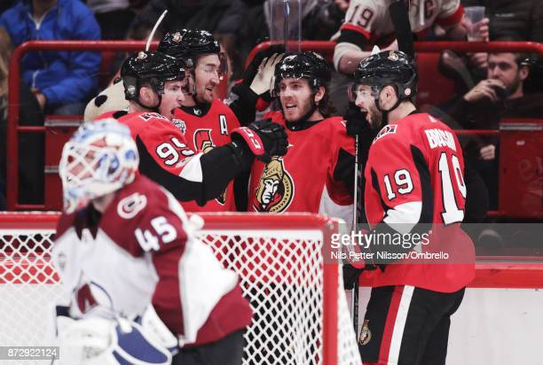 Mike Hoffman of Ottawa Senators celebrates after scoring to 34 during the 2017 SAP NHL Global Series match between Colorado Avalanche and Ottawa...