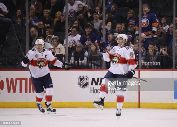 Mike Hoffman of the Florida Panthers celebrates his game winning powerplay goal at 33 seconds of overtime against the New York Islanders at the...