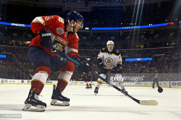 Mike Hoffman of the Florida Panthers gathers the puck against at the BBT Center on March 23 2019 in Sunrise Florida