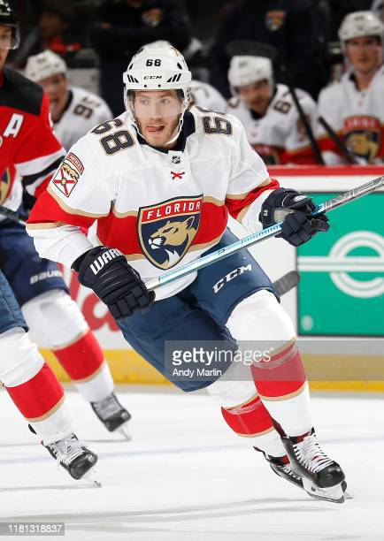 Mike Hoffman of the Florida Panthers skates against the New Jersey Devils during the game on October 14 2019 at Prudential Center in Newark New Jersey