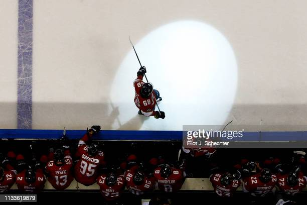 Mike Hoffman of the Florida Panthers stands by the bench during a break in the action against the Ottawa Senators at the BB&T Center on March 3, 2019...