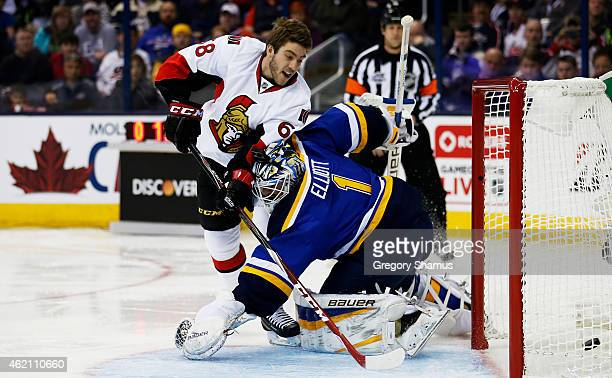 Mike Hoffman of the Ottawa Senators and Team Toews competes against Brian Elliott of the St Louis Blues and Team Foligno during the Discover NHL...