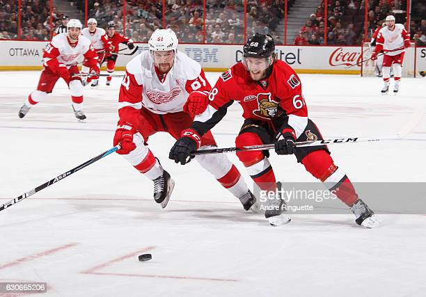 Mike Hoffman of the Ottawa Senators battles for puck possession against Xavier Ouellet of the Detroit Red Wings at Canadian Tire Centre on December...