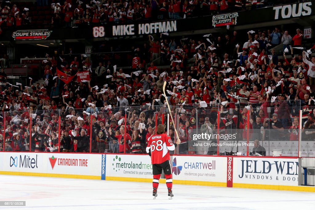 Mike Hoffman #68 of the Ottawa Senators celebrates after defeating the Pittsburgh Penguins with a score of 2 to 1 in Game Six of the Eastern Conference Final during the 2017 NHL Stanley Cup Playoffs at Canadian Tire Centre on May 23, 2017 in Ottawa, Canada.